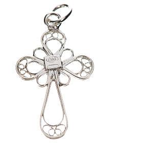 Kreuz mit Koralle Silber 800 Filigranarbeit s2