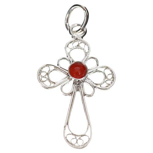 Kreuz mit Koralle Silber 800 Filigranarbeit 1