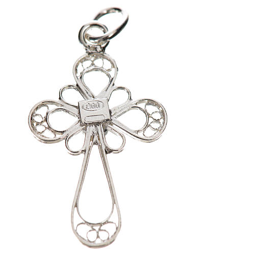 Kreuz mit Koralle Silber 800 Filigranarbeit 2