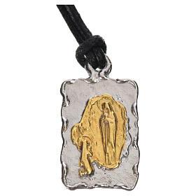 Medalla de Lourdes en plata 800, bicolor s1