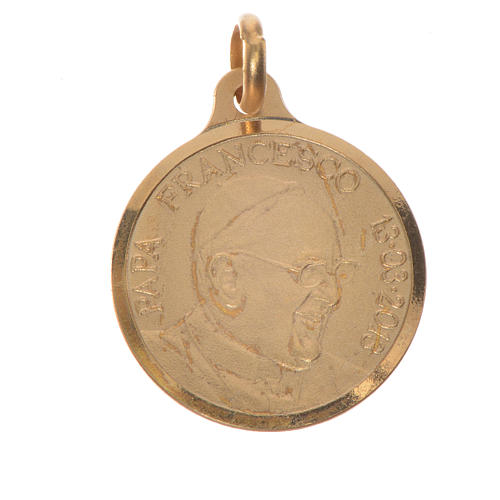 Pope Francis medal 16mm 800 silver, golden 1