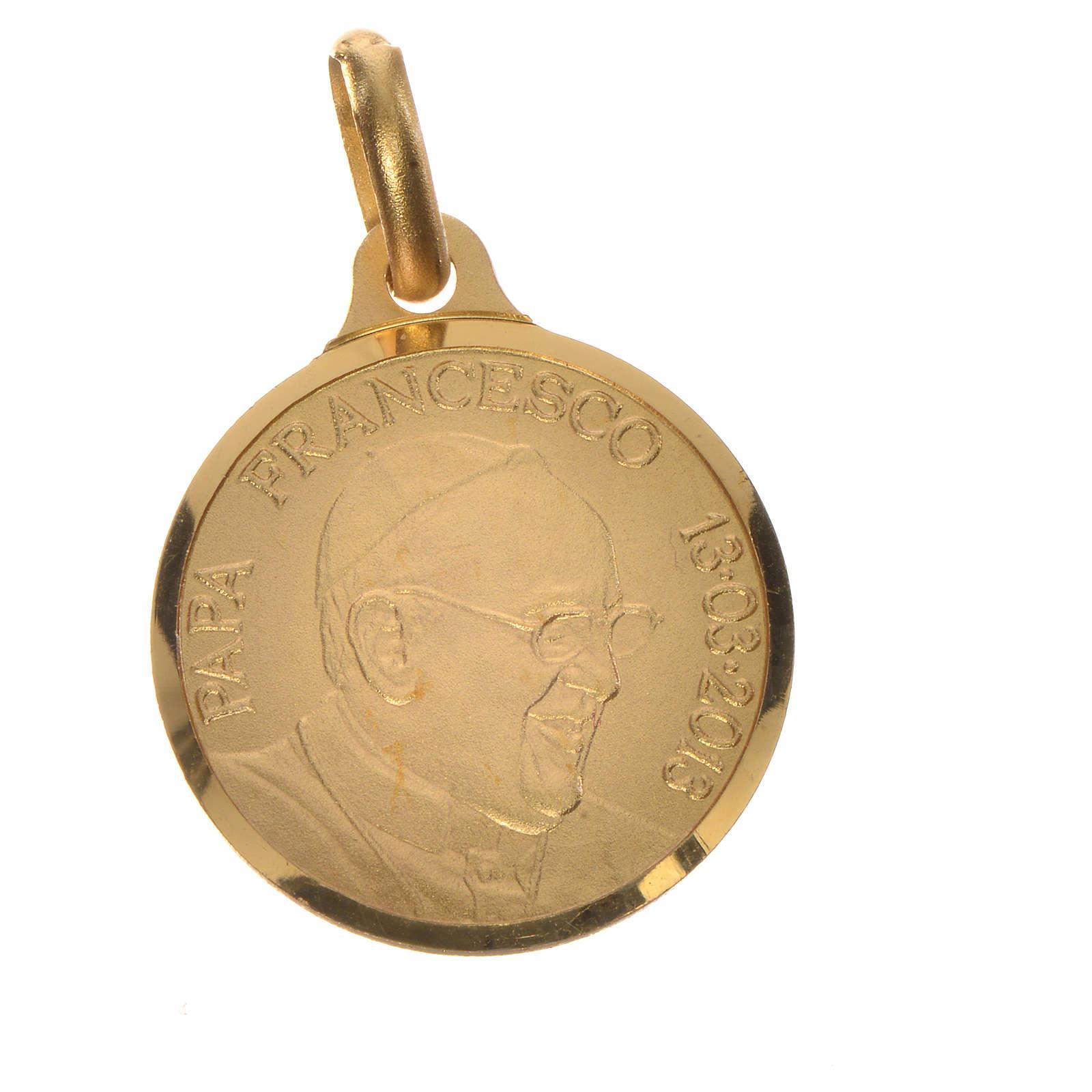 Medalla de Papa Francisco en plata 800 dorada, 18mm 4