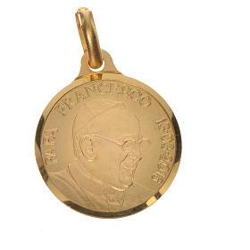 Medalla de Papa Francisco en plata 800 dorada, 18mm s1