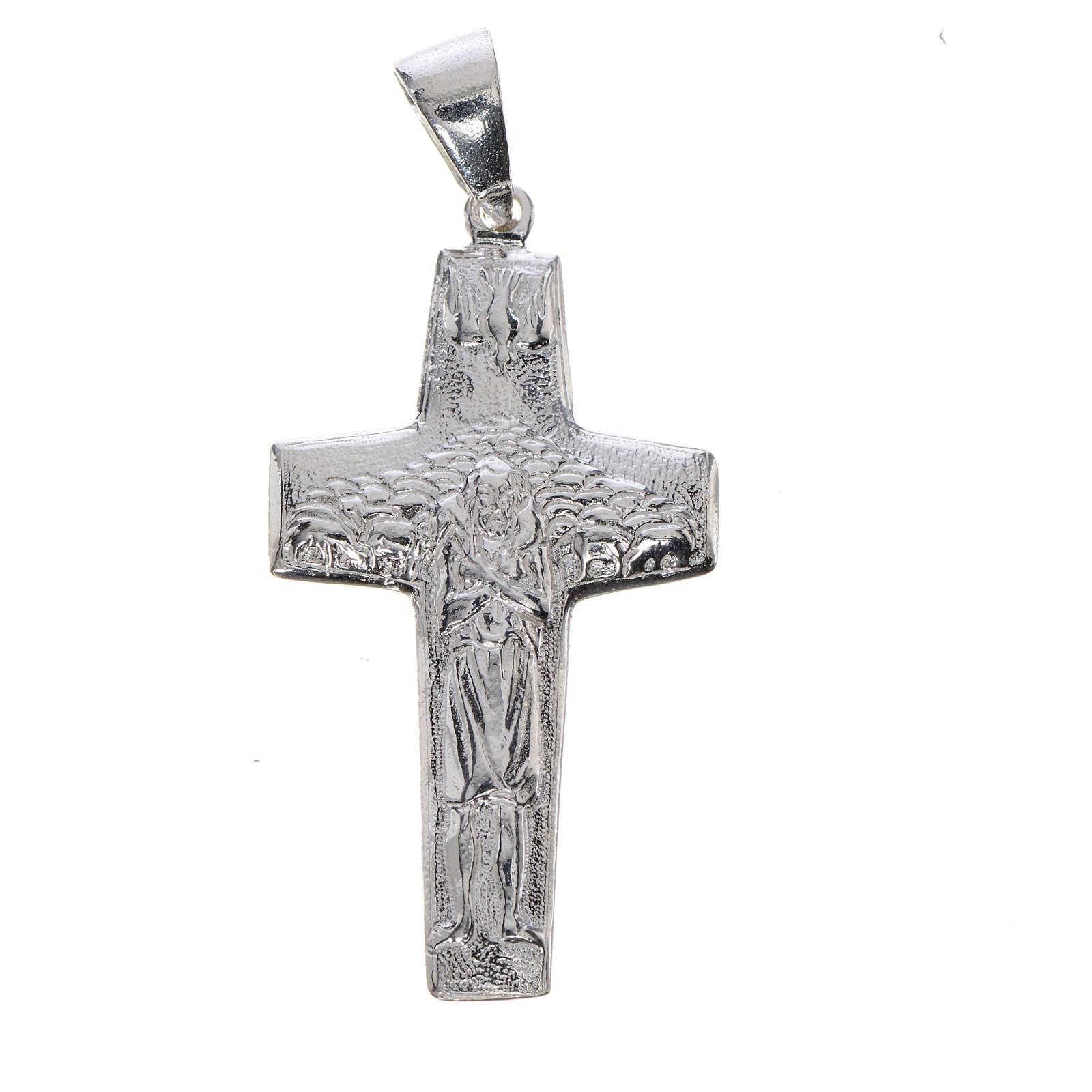 Cruz de Papa Francisco, Buen Pastor, en plata 800 4