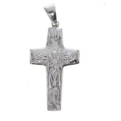 Cruz de Papa Francisco, Buen Pastor, en plata 800 1