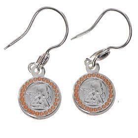 Pingentes, Cruzes, Broches, Correntes: Brincos Anjo da Guarda prata 800 acab. cor-de-rosa