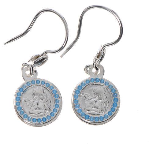 Pendientes ángel guardián de plata 800, acabado azul claro 1