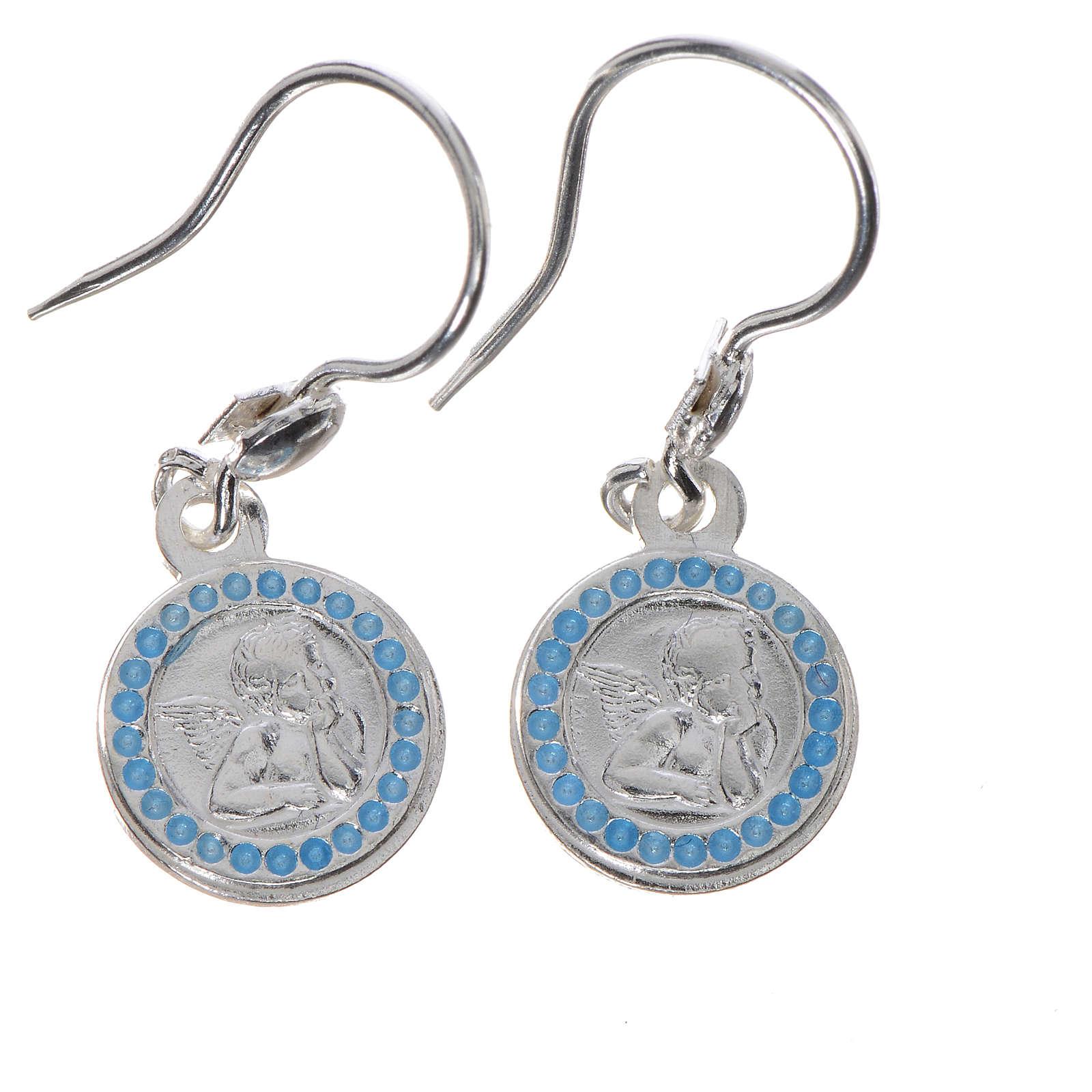 Boucles d'oreilles Ange gardien argent 800 fin. bleu clair 4