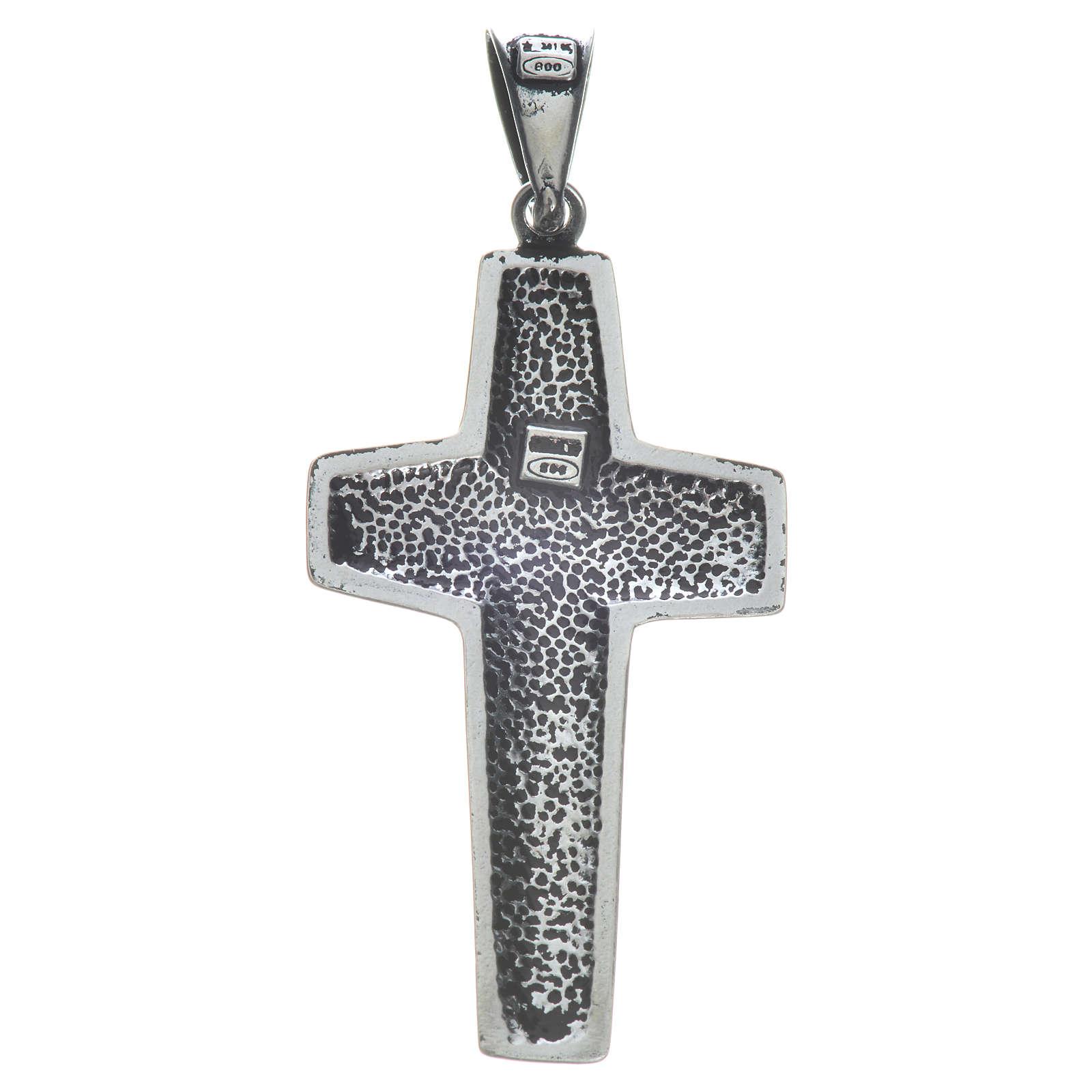 Pope Francis cross 4x2cm in 800 silver 4