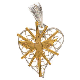 Pendants, crosses and pins: Pendant with filigree heart, Holy Spirit in 800 silver