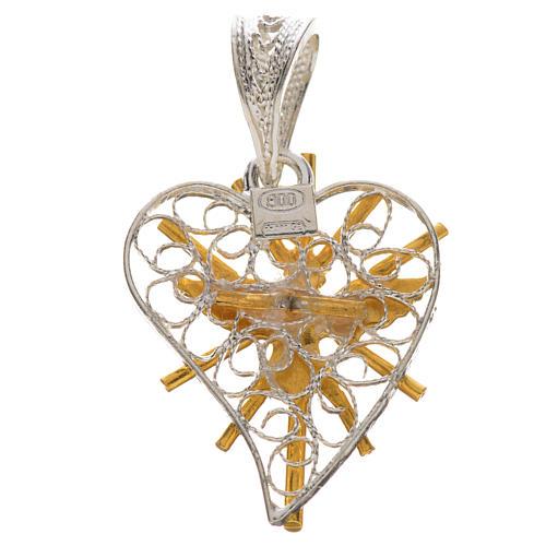 Pendente cuore filigrana Spirito Santo argento 800 2