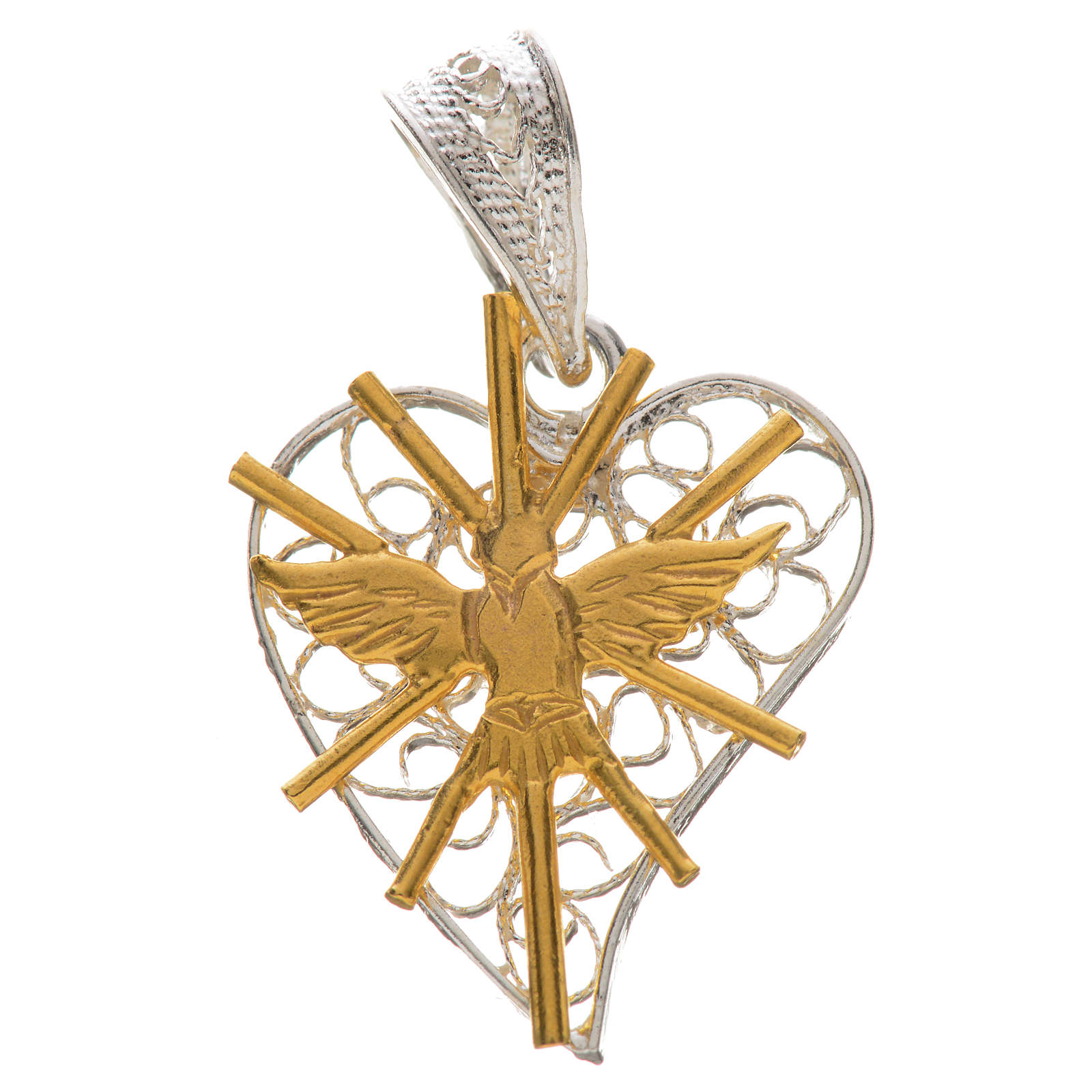 Pendant with filigree heart, Holy Spirit in 800 silver 4