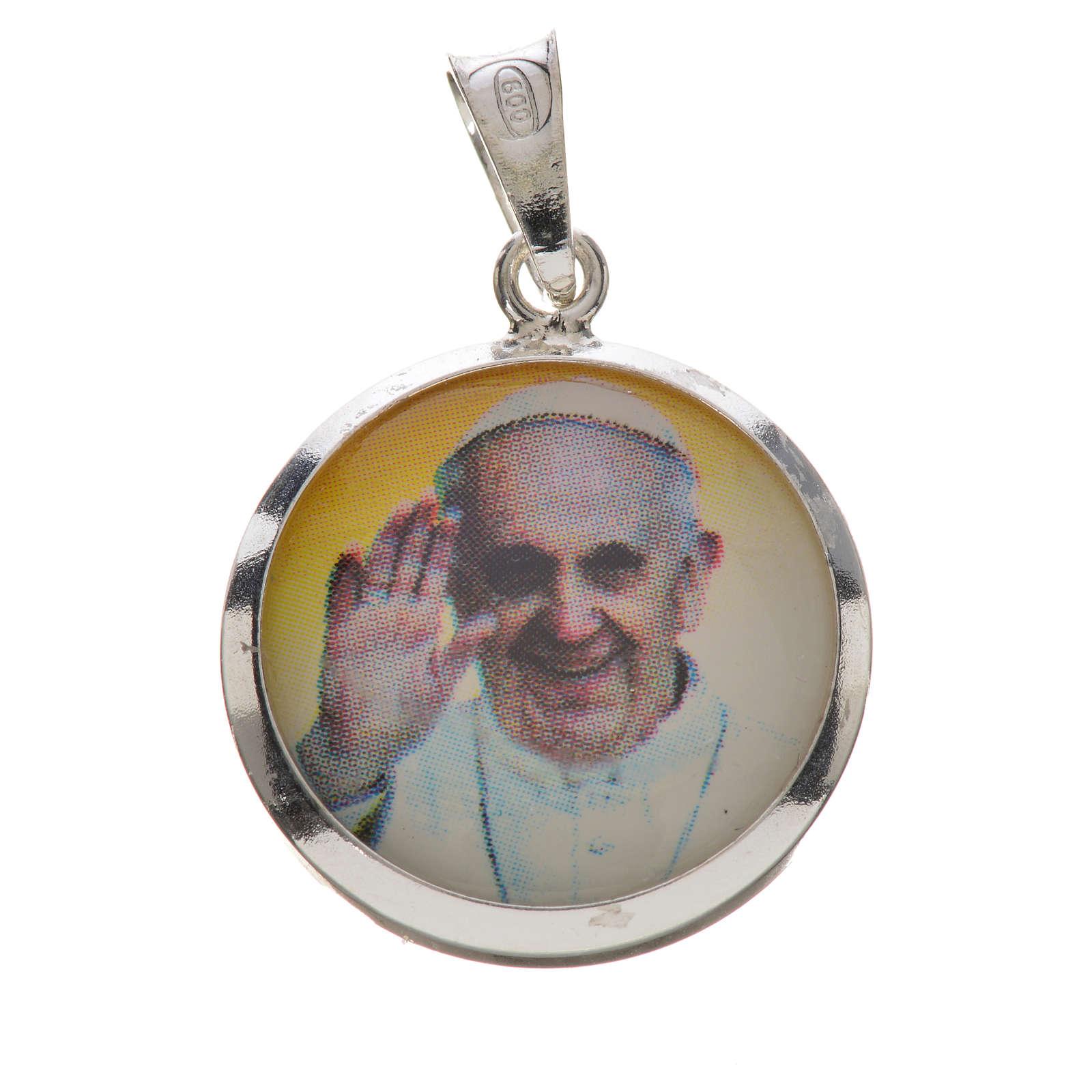 Pendente medaglia immagine Papa Francesco argento 800 4