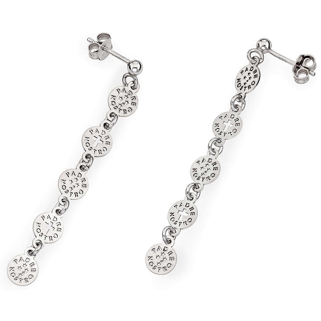 Amen earrings with Our Father Cross, sterling silver 4
