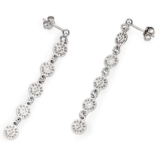 Amen earrings with Our Father Cross, sterling silver 1