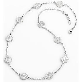 Amen necklace 50cm, medals with Saints in sterling silver s1