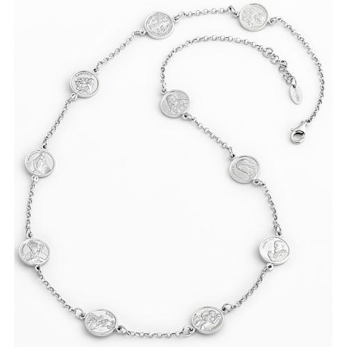 Amen necklace 50cm, medals with Saints in sterling silver 1