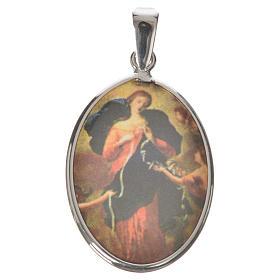 Médaille ovale argent 27mm Marie qui défait les noeuds s1