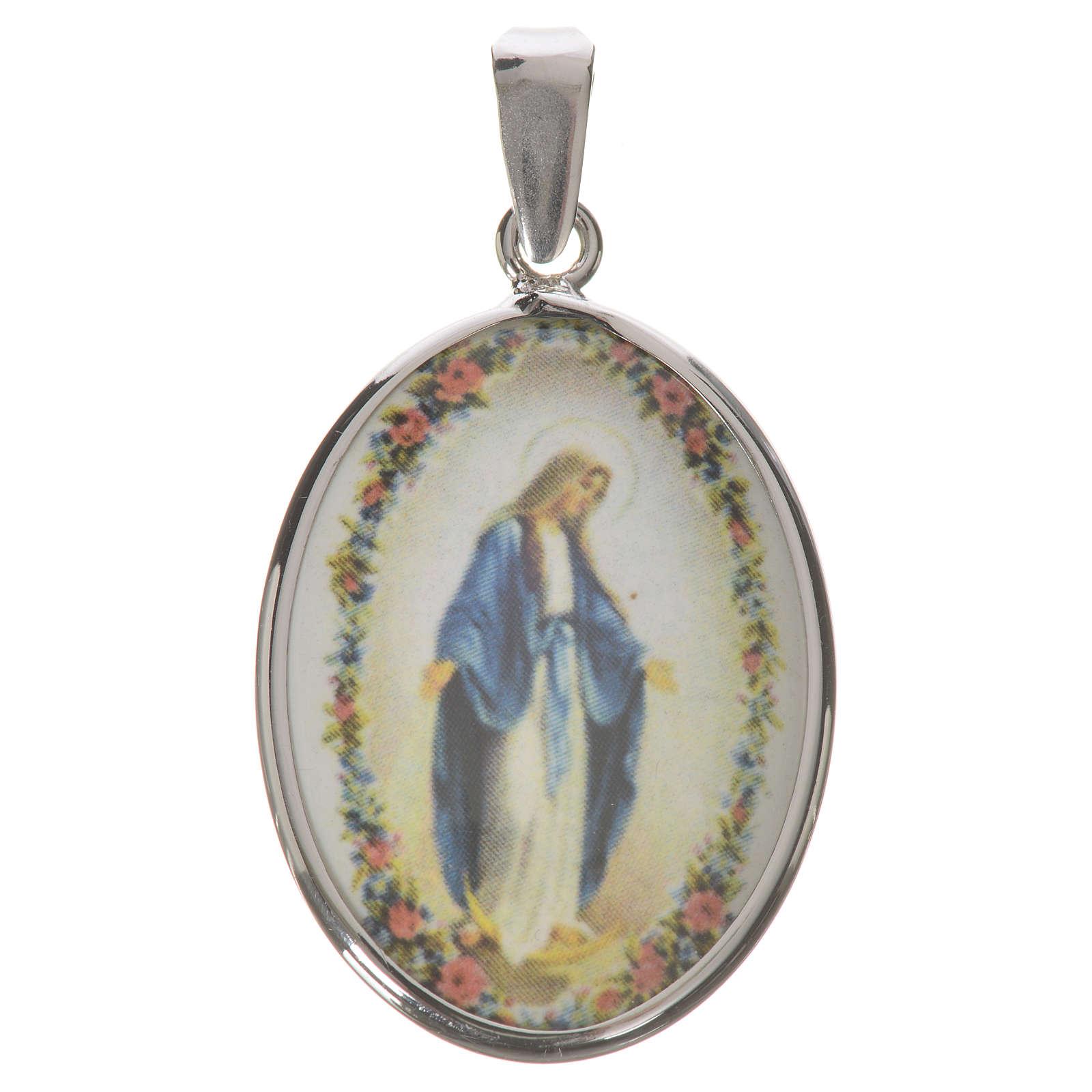 Medalha oval prata 27 mm Nossa Senhora Milagrosa 4