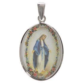 Medalha oval prata 27 mm Nossa Senhora Milagrosa s1