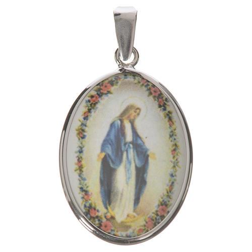 Medalha oval prata 27 mm Nossa Senhora Milagrosa 1