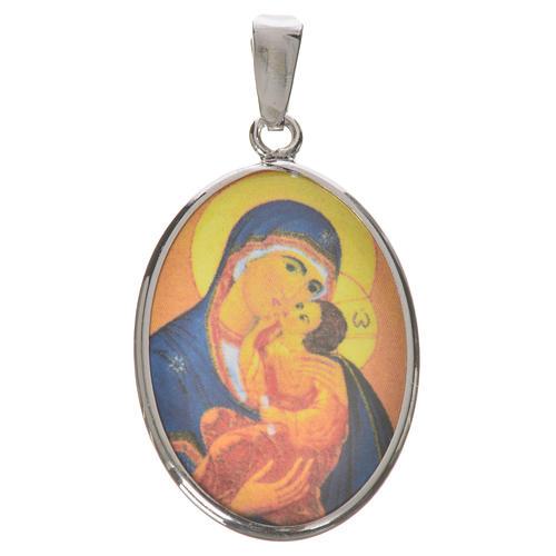 Medaglia ovale arg. 27 mm Madonna Tenerezza 1