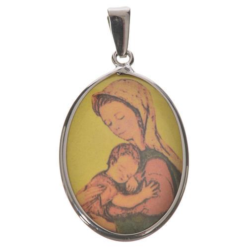 Medaglia ovale arg. 27 mm Madonna 1