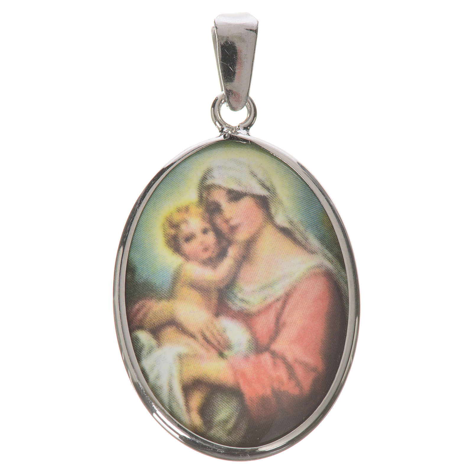 Medaglia ovale arg. 27 mm Madonna Bambino 4