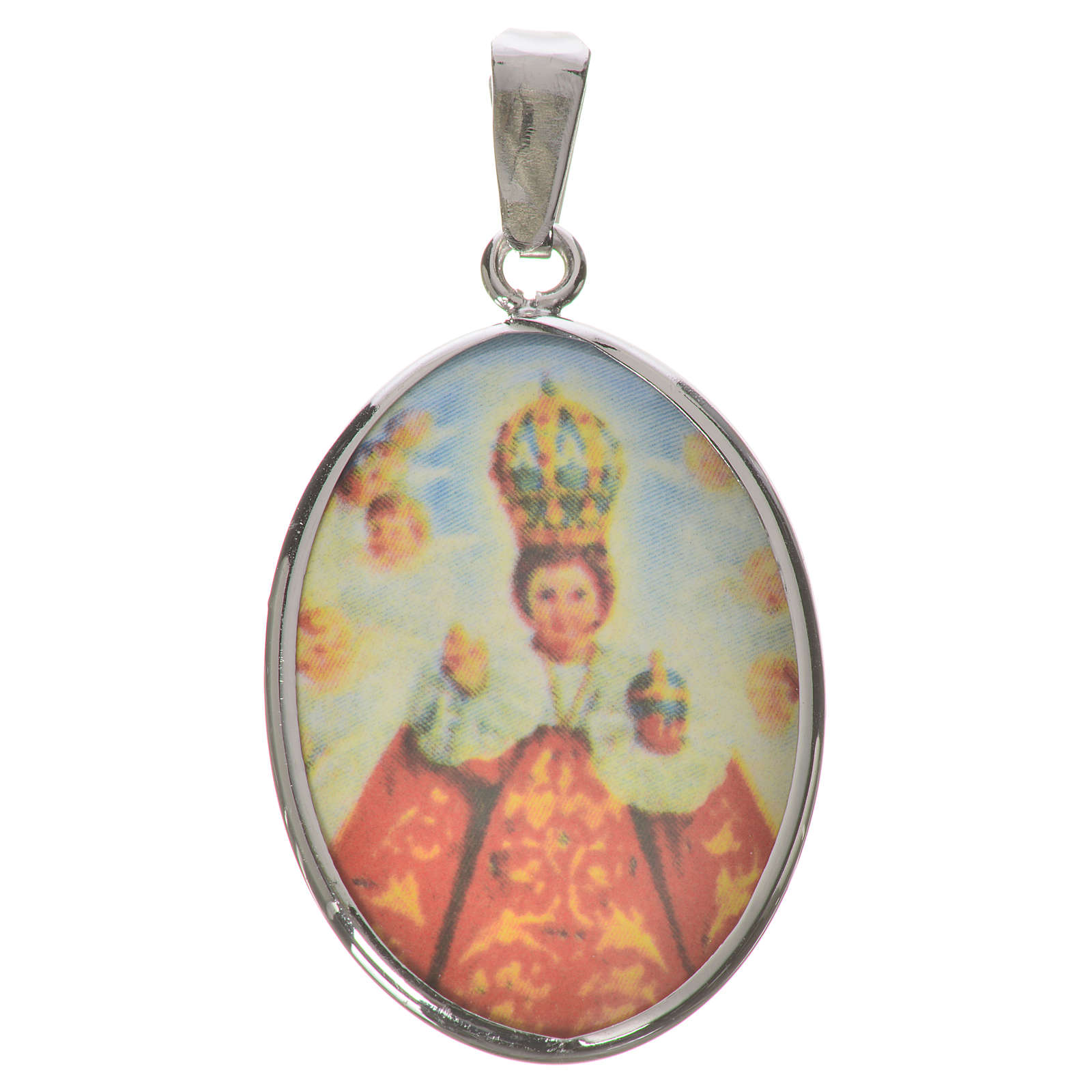 Médaille ovale argent 27mm Enfant Jésus Prague 4
