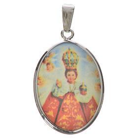 Médaille ovale argent 27mm Enfant Jésus Prague s1