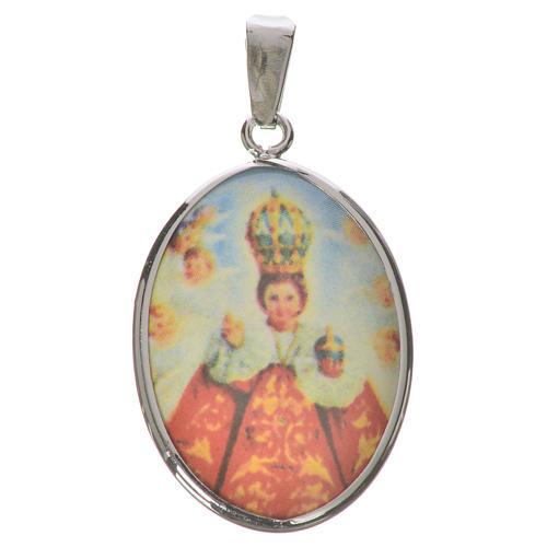 Médaille ovale argent 27mm Enfant Jésus Prague 1