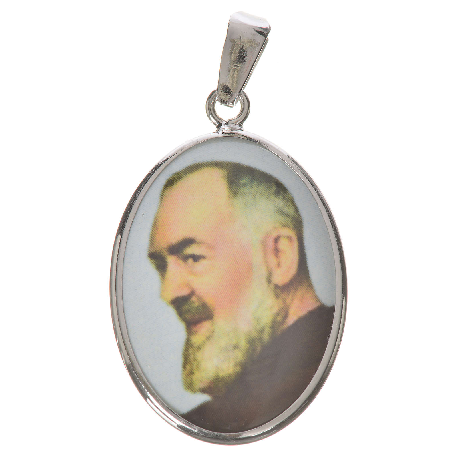 Oval medal in silver, 27mm with Saint Padre Pio 4