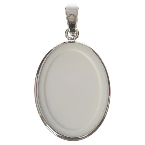 Oval medal in silver, 27mm with Saint Padre Pio 2