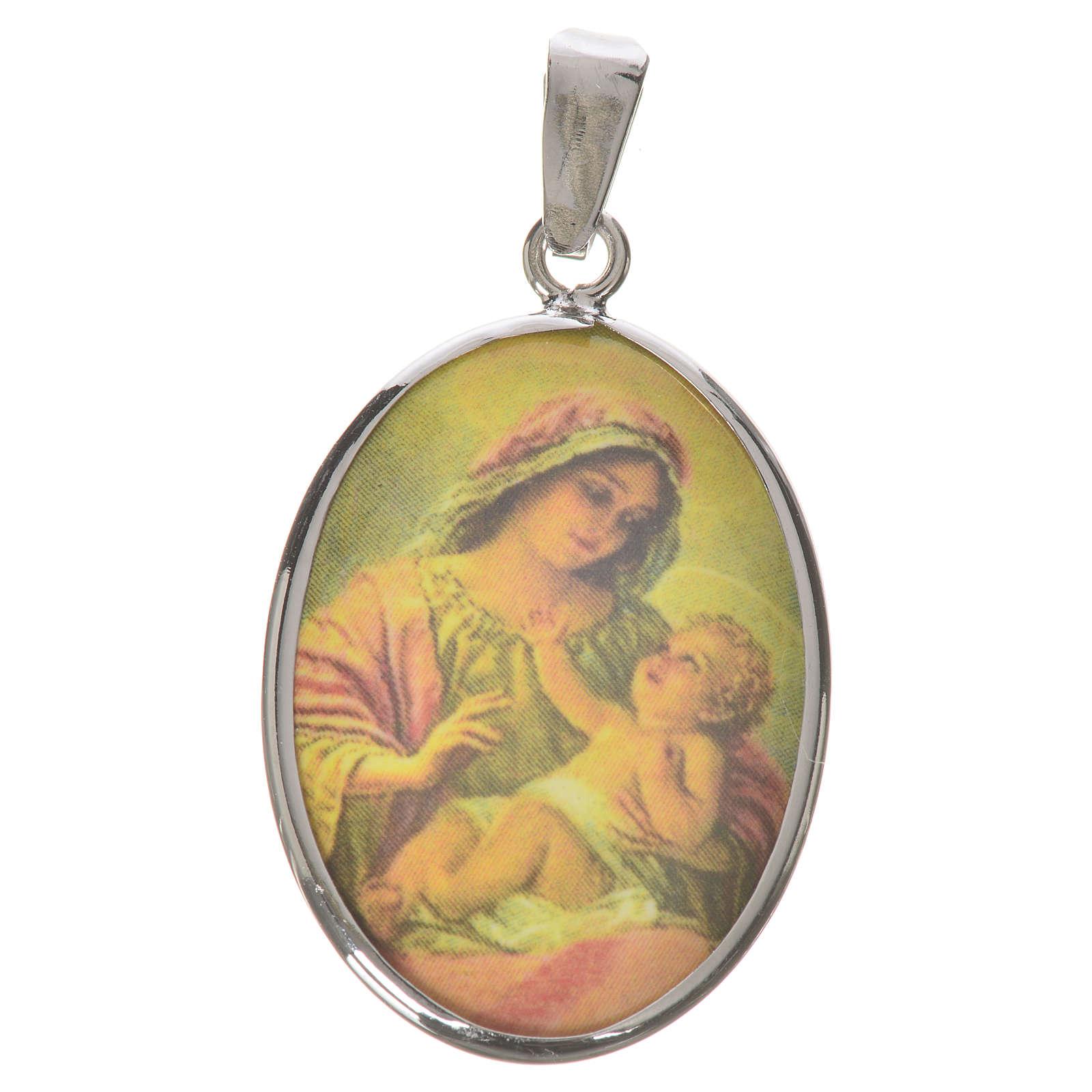 Medaglia ovale argento 27 mm Madonna con Bambino 4