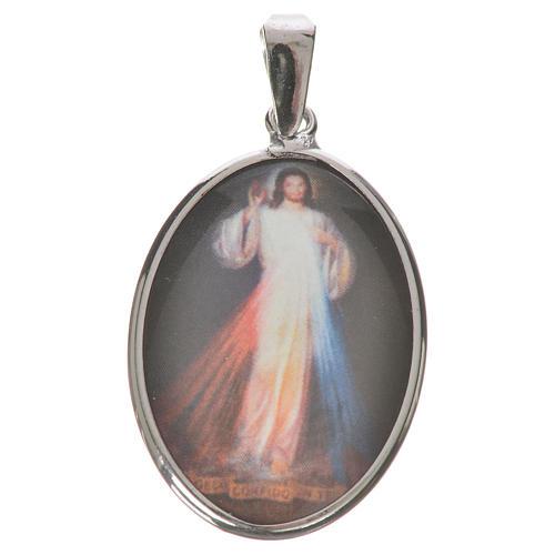 Medalla ovalada de plata, 27mm Jesús Misericordioso 1
