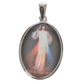 Medaglia ovale arg. 27 mm Gesù Misericordioso s1