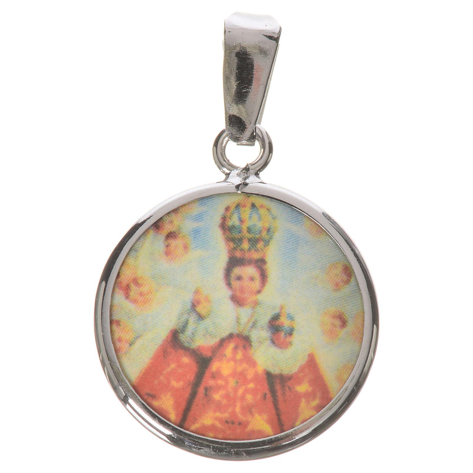 Medaglia tonda arg. 18 mm Gesù bambino di Praga 4