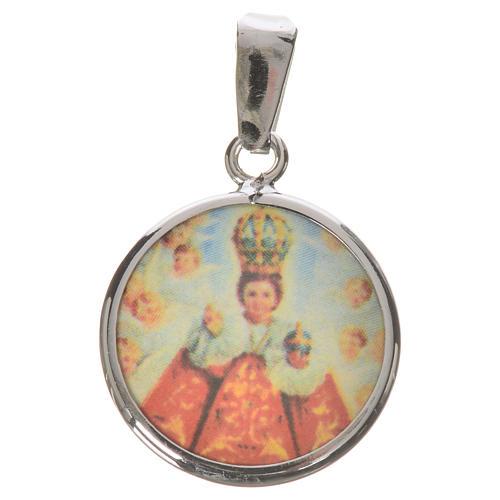 Medaglia tonda arg. 18 mm Gesù bambino di Praga 1