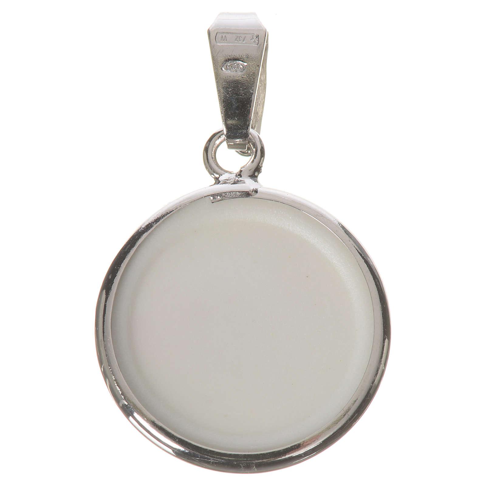 Medalla redonda de plata, 18mm Ángeles y Flores 4