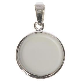 Medalla redonda de plata, 18mm Ángeles y Flores s2