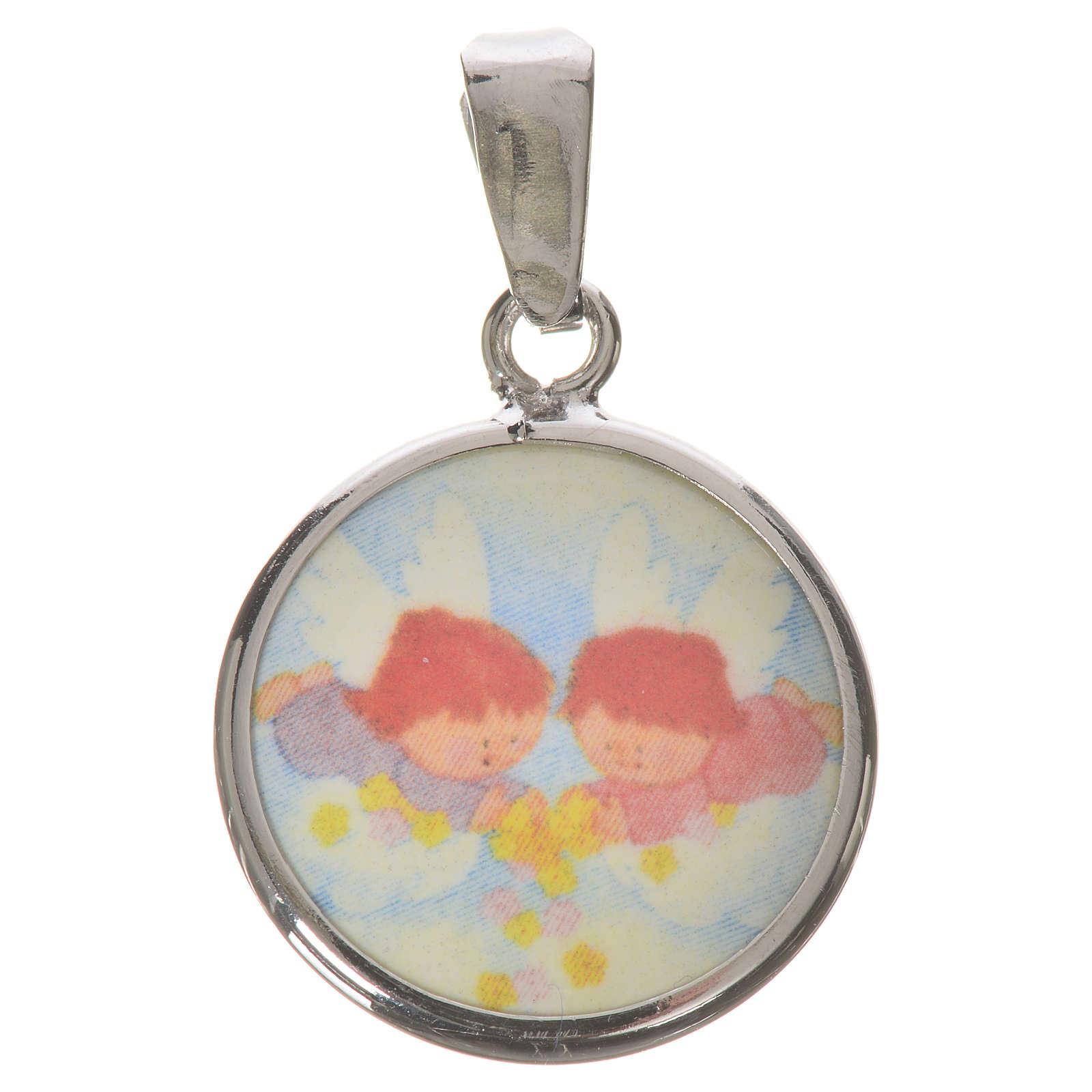 Médaille ronde argent 18mm Anges fleurs 4