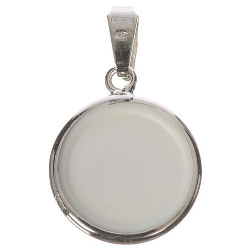Médaille ronde argent 18mm Anges fleurs 2
