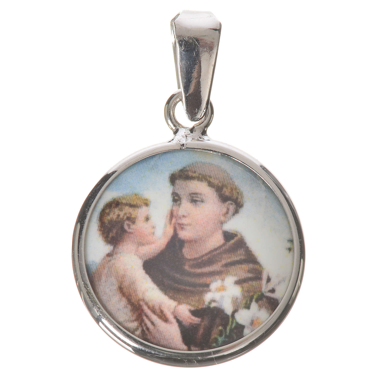 Round medal in silver, 18mm Saint Anthony 4