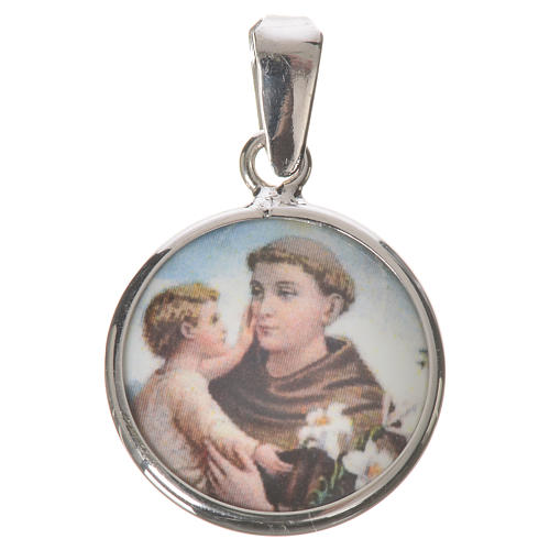 Round medal in silver, 18mm Saint Anthony 1