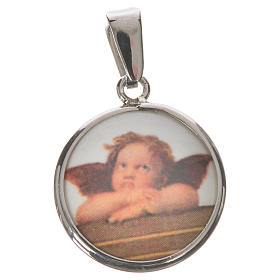 Round medal in silver, 18mm Angel s1