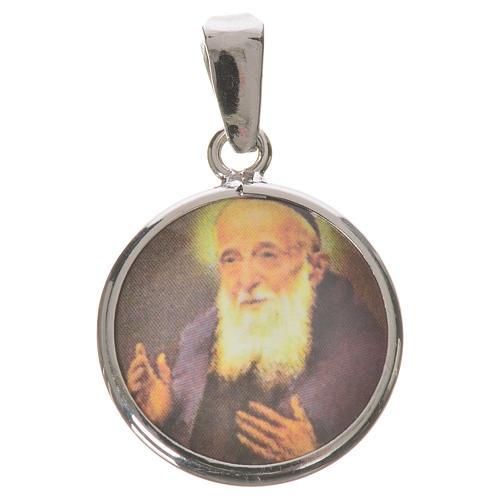 Medaglia tonda arg. 18 mm Padre Leopoldo 1