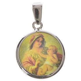 Médaille ronde argent 18mm Marie Enfant s1
