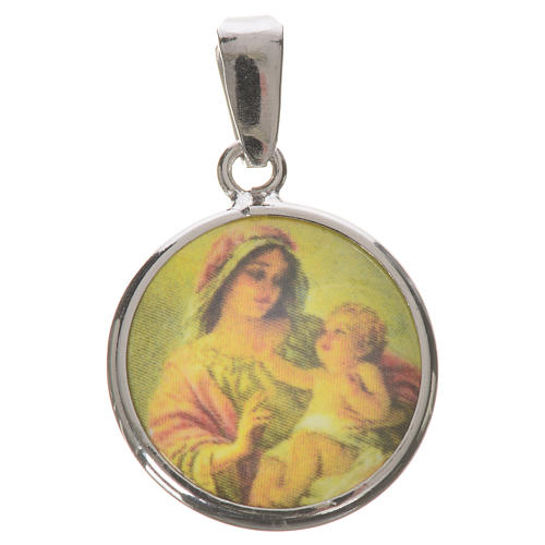 Medaglia tonda arg. 18 mm Madonna Bambino 1