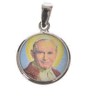 Médaille ronde argent 18mm Jean-Paul II s1