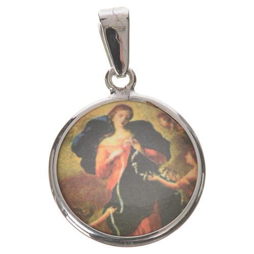Médaille ronde argent 18mm Marie qui défait les noeuds 1
